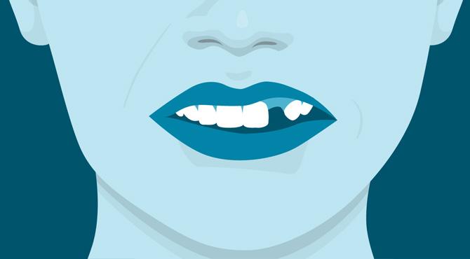 ont i tanden när jag går